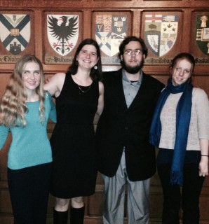The URDU's debaters (from left: Sarah, Miriam, Chris, and Katelyn) pose at the fancy banquet